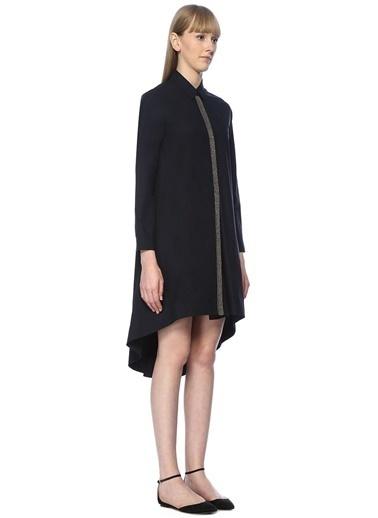 Beymen Collection Önü Kısa Midi Boy Gömlek Elbise Lacivert